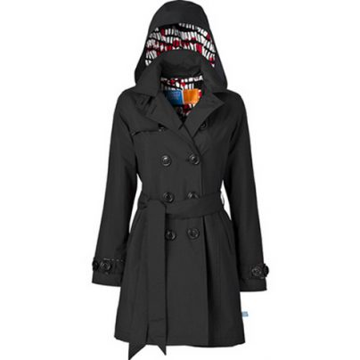 Lucine Black Hooded Trenchcoat