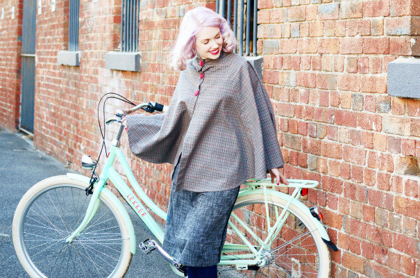MINT pink grey cape - Copy